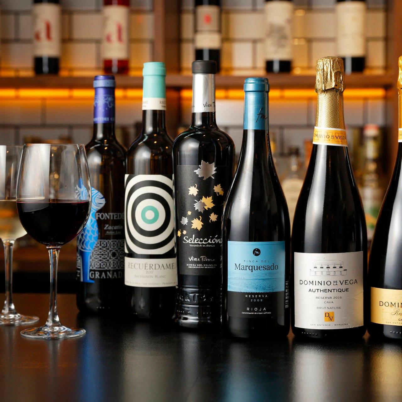 ソムリエが厳選したスペイン産の希少なワインを20種類以上ご用意