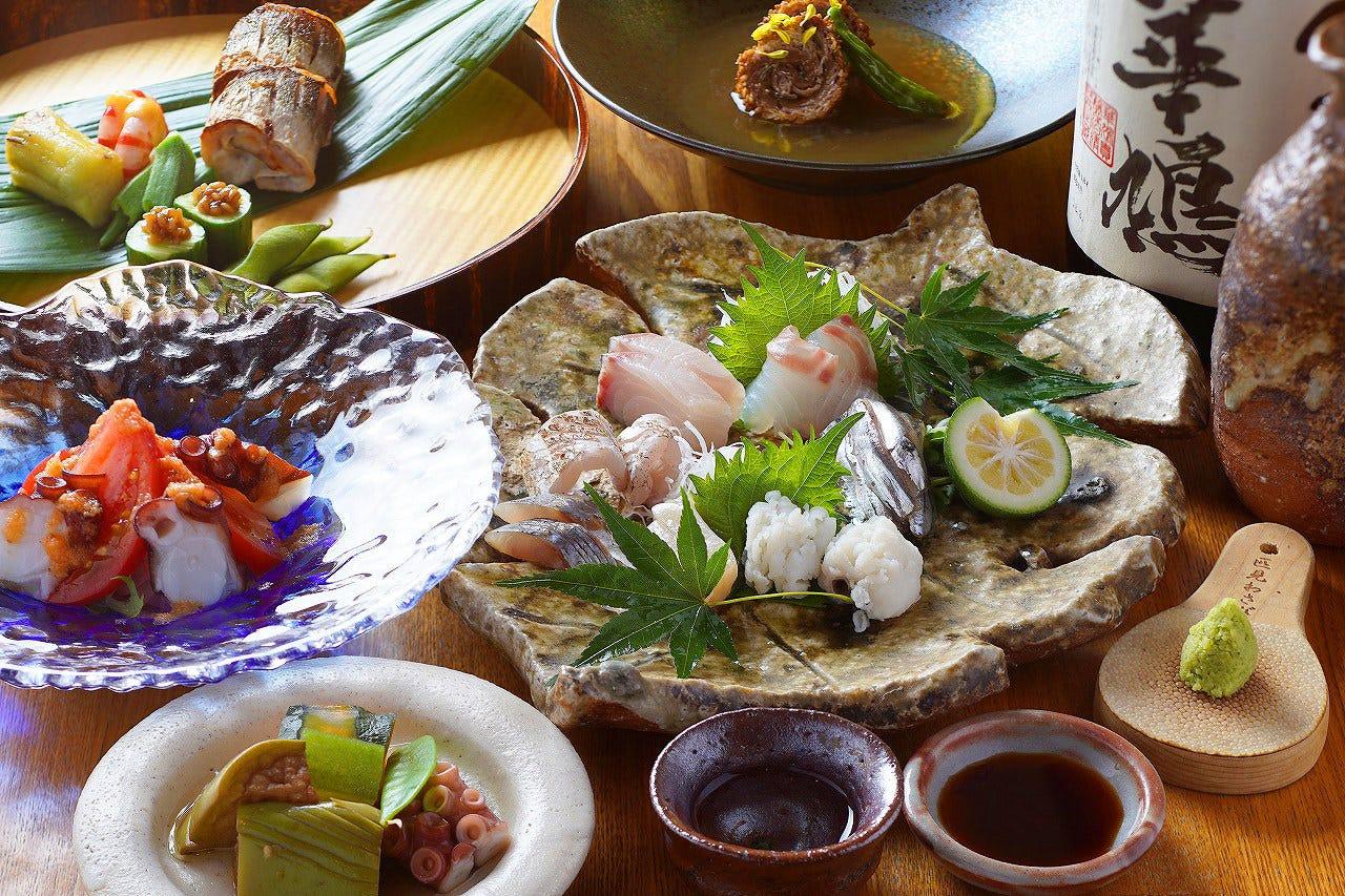 ◇瀬戸内鮮魚を中心に「大将おまかせ」全7品 6,000円 (飲み放付)・2名様~
