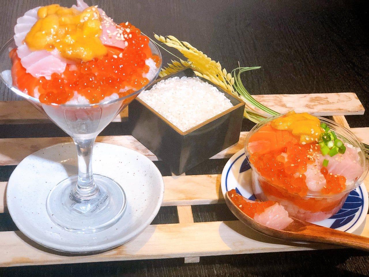 【名物!海鮮寿司パフェ&牛タンしゃぶ】150分!高コスパの11品+地酒10種,生ビール等120種飲放付!3,550円