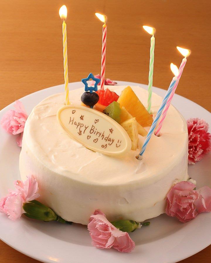 ホールケーキ・お花をプレゼント♪