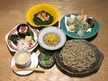 車海老と天然魚、旬野菜の天然盛り付き