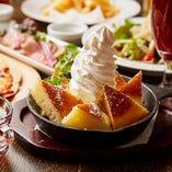 """ドイツ風パンケーキ""""カイザーシュマーレン""""が付いた、女子会や昼飲みにピッタリなコースです"""