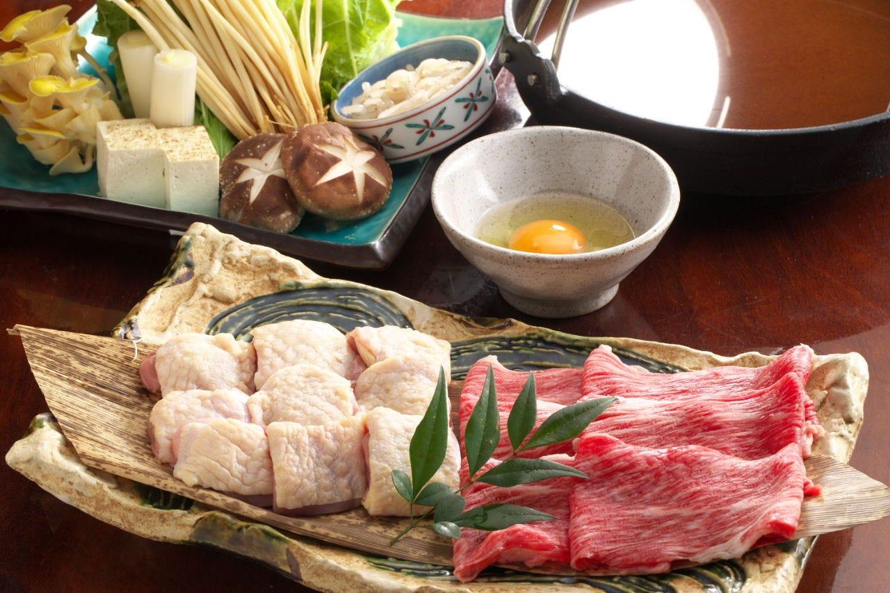 『鶏鍋コース 黒毛和牛すき焼き鍋orしゃぶしゃぶコース』6,000円