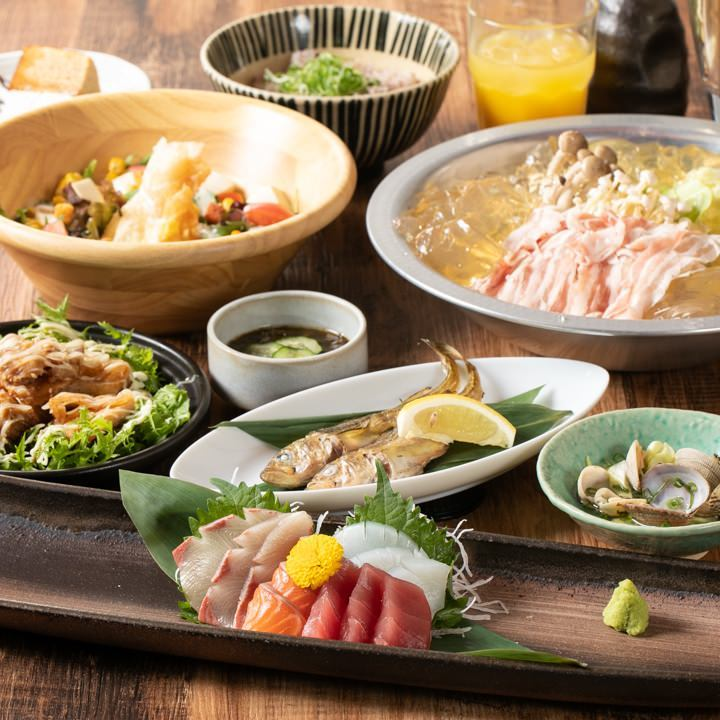 時期に合わせた季節の食材をふんだんに使用したお料理を満喫!2時間飲み放題付『プチ贅沢コース』