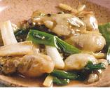 牡蠣のネギ、生姜炒め