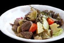 子羊・筍・肉厚椎茸のハーブバター炒め