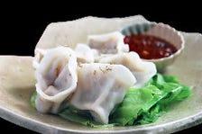 新生姜と鶏肉の水餃子ラー油添え