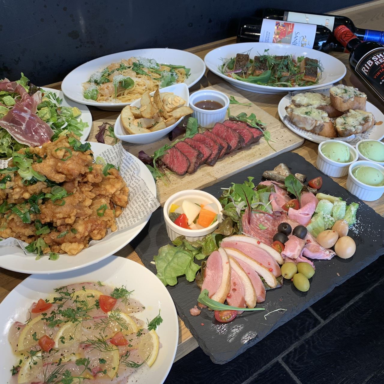 【2H飲み放題付】厳選素材!特選牛ステーキに鮮魚カルパッチョ、削りたて生ハムとアボカドの…グラッチェコース