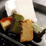 手作りお豆腐のアイス 焼き生麩の黒蜜きな粉和え