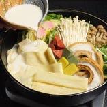 京野菜と京豆腐の豆乳鍋は女性に好評♪
