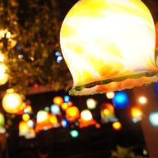 琉球ガラス照明が煌めくお洒落空間