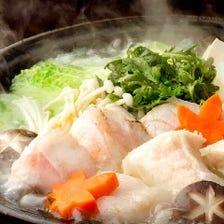 [クエ鍋Aコース]冬鍋の王様『クエ鍋』と 当店自慢の鰹のたたきを自家製ゆずポン酢でお召し上がり下さい