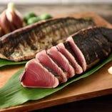 当店では伝統の一本釣りで釣り上げられた新鮮な鰹を使用