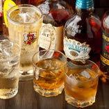スコッチ、バーボンなどウイスキーもいろいろご用意