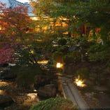 昼と夜とでもまったく異なる印象を受ける庭苑