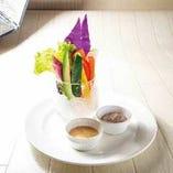 スティックサラダ 2種のディップ(生ハムのムースとスイートチリマヨ)