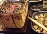 イカ  タコ  アナゴなどの七輪焼き