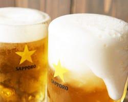 サッポロ生ビール/麦とホップ 各300円(税込み330円)