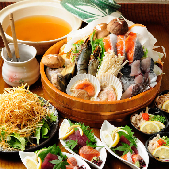 【GoToポイント使用OK】お好きな鍋&職人寿司が味わえる全6品『4,000円鍋コース』|宴会・飲み会・飲み放題