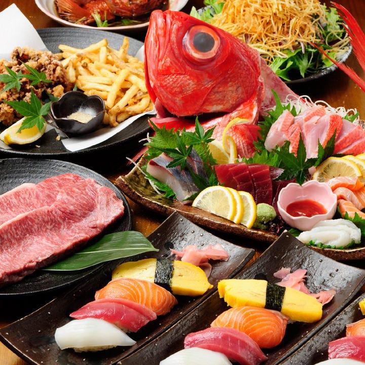 職人寿司を満喫!お腹いっぱい楽しみたい宴会に『あおいやオススメ満腹コース』|宴会・飲み会・飲み放題