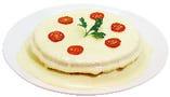 【ワッフルチーズフォンデュ】は直径17cmのワッフル2枚&ハム&トロトロチーズ!!