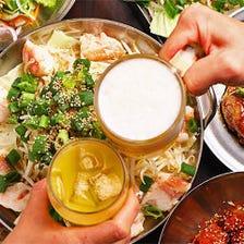 2つの鍋を一度に満喫!味噌をきかせた京もつ鍋&ピリ辛味の赤ちり鉄板焼き『豪華Wコース』飲み放題付