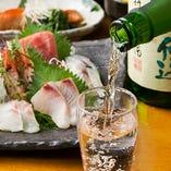 旬の魚にあわせ、季節の地酒もご用意