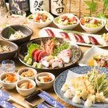 金目鯛や豊洲から仕入れる朝どれ鮮魚、和牛など贅沢な食材にこだわったご宴会コースは2時間半飲み放題付き4,500円~◎