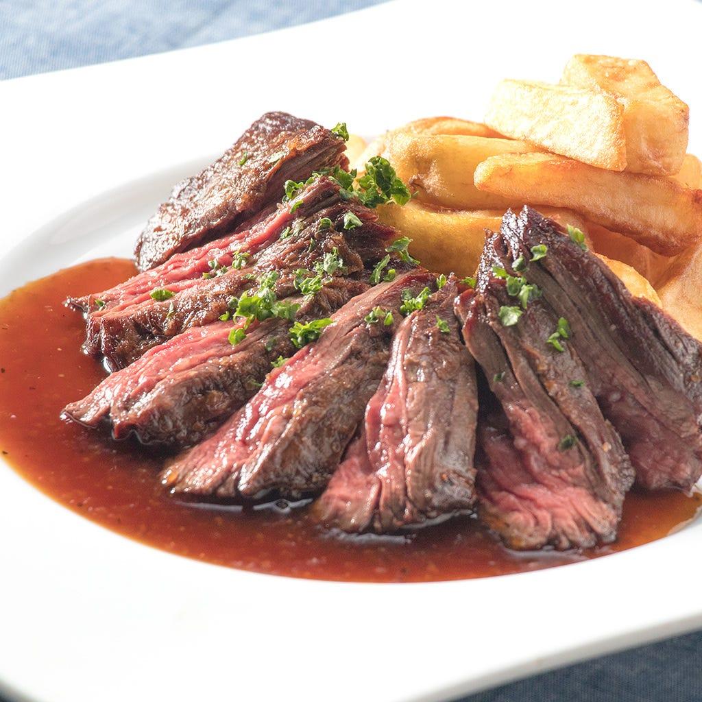 牛ハラミのステーキをトリュフソースでお楽しみ下さい
