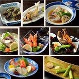 お料理のみ『大将おまかせ7品コース』その日の美味しい鮮魚で作る刺身や煮物を、お好きな地酒とどうぞ