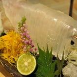 「活赤イカそうめん」九州産のイカを仕入れ新鮮なイカをご提供。