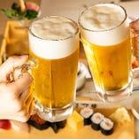【コースに飲み放題追加OK】ビールやサワーなど多彩なドリンクをご用意!また、お車でも気兼ねなくご宴会をお楽しみいただけるよう『白桃コラーゲンソーダ』や『津軽りんごヒアルロン酸ソーダ』をはじめとしたノンアルコールカクテルも取り揃えております。