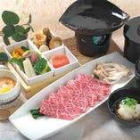【霜降り国産牛炙り焼御膳】小鉢4種盛・茶碗蒸し・ご飯・みそ汁の豪華な御膳!上質なお肉の旨味を存分にお楽しみいただけます。