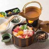 【海宝ひつまぶし御膳】新鮮な魚介を贅沢にひつまぶしでお召し上がりください!香の物・白身魚の昆布〆・あごだし