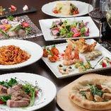 パイッツァ、魚料理、肉料理など旬の料理を5500円コース(飲放題付き7000円コース)贅沢で豪華な8品