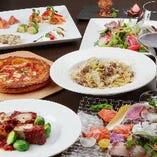 パイッツァ、パスタ、肉料理を堪能4500円コース(飲放題付き6000円コース)宴会やパーティー、記念日にも