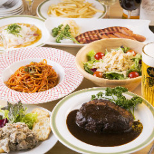 【2時間飲み放題付】国産牛ハンバーグやナポリタンを堪能!満足コース〈全8品〉宴会・飲み会・女子会