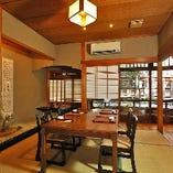 2階《みのり》坪庭が見える開放的なお部屋で華やかな宴席を。8名様まで