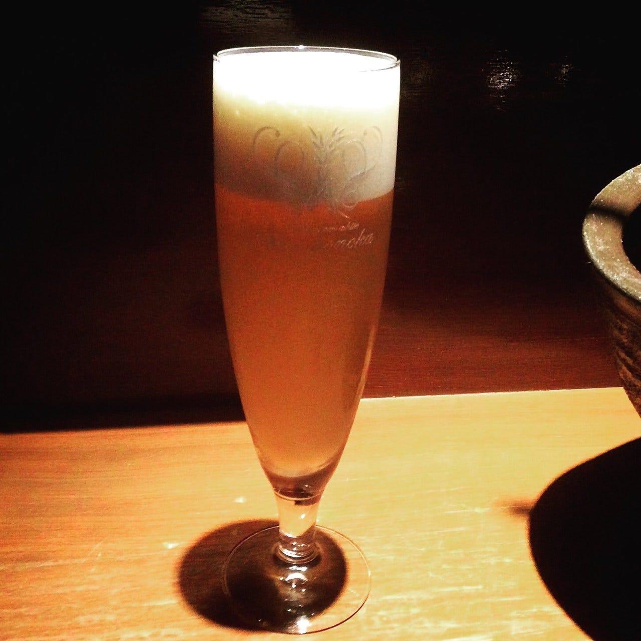 無濾過限定生ビール「 白穂乃香 」。フルーティな味わい。