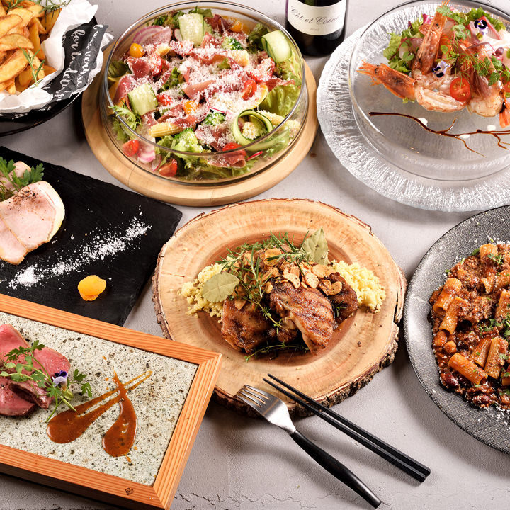 【2時間飲み放題付】鮮魚のカルパッチョやジューシーなチキンステーキ『4,800円コース』<全9品>