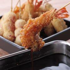 魚介料理の他に、人気の串かつも!
