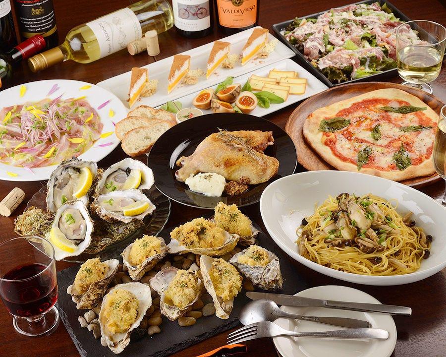 【女子会/歓送迎会】産直生牡蠣が人気♪チキンカチャトラ 等9品 2,750円コース