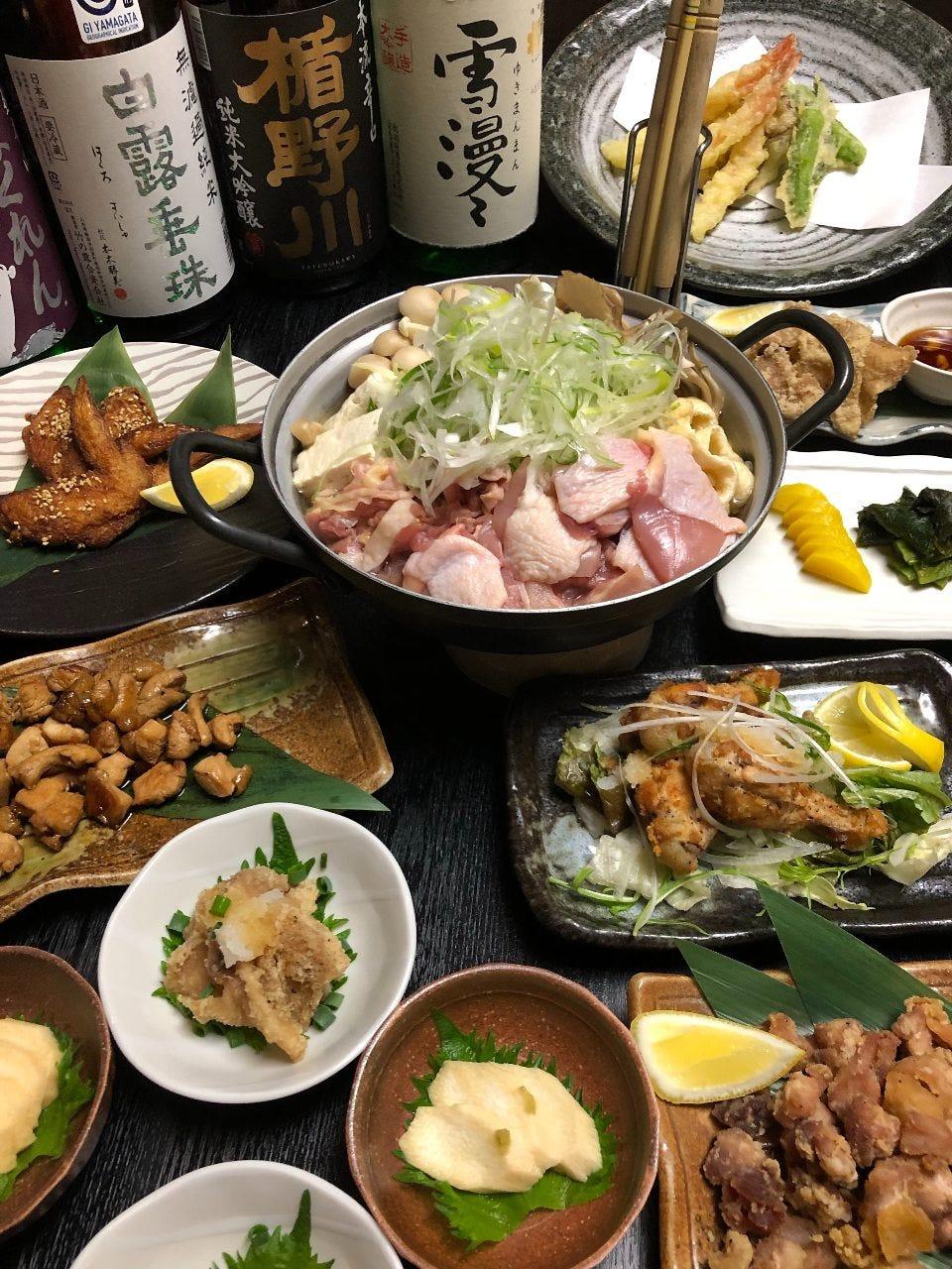 当店オススメ!一縁特製鶏鍋コース(しょうゆ味)季節のお料理など6品から 飲み放題付き4000円