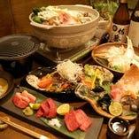 忘年会に人気の鍋・しゃぶコース。銘々にお料理をご提供。