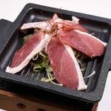 鴨と長ネギの鉄板焼き(柚子胡椒ソース)