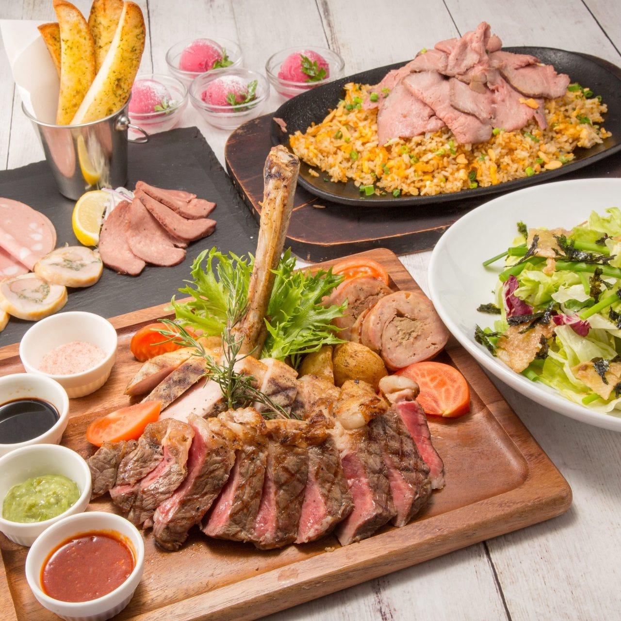 【牛・豚・鶏の肉食べ比べ♪】肉極みコース(料理5品+選べる飲み放題)