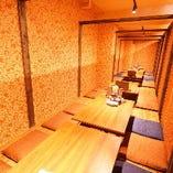 広々とした掘りごたつの個室席は最大60名様までOK!