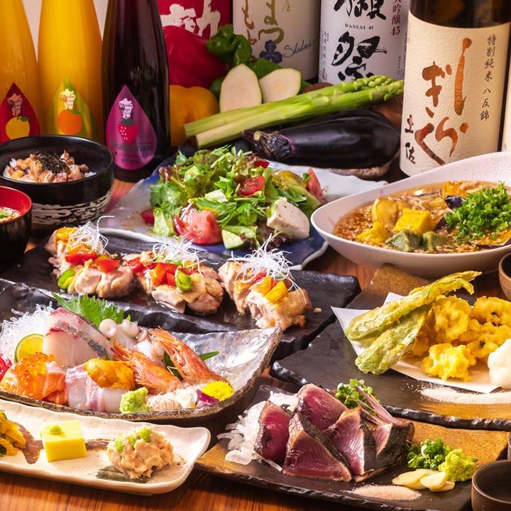 宴会に最適◎自慢の藁焼きカツオや京野菜、新鮮魚介を満喫!90分飲み放題付『くらと定番コース』全7品