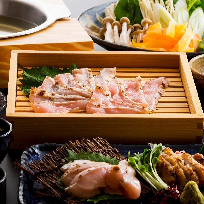 ◆しっかりとした歯ごたえで旨味たっぷり、さっぱり味わえる『久米島赤鶏しゃぶしゃぶコース』[全5品]