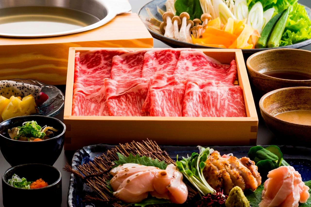 ◆生まれも育ちも沖縄の和牛モモ肉中をお野菜と共に堪能『おきなわ和牛しゃぶしゃぶコース』[全5品]